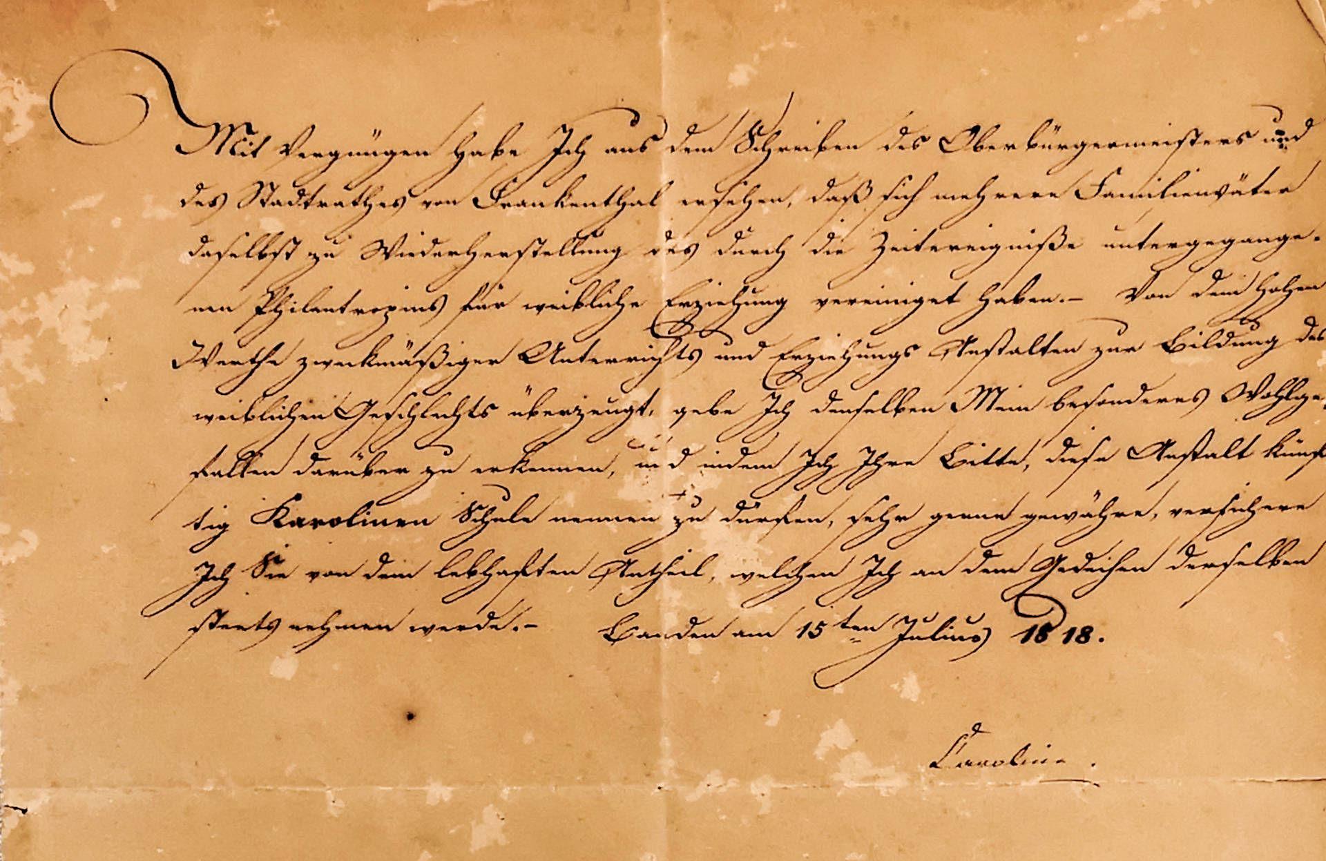 Patenbrief der Königin Karoline